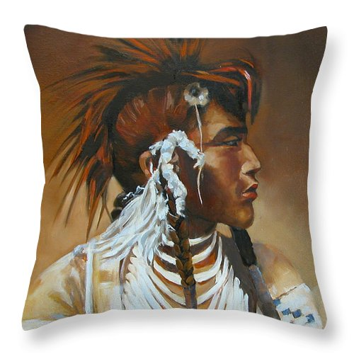 American Indian Throw Pillow featuring the painting Warrior by Synnove Pettersen