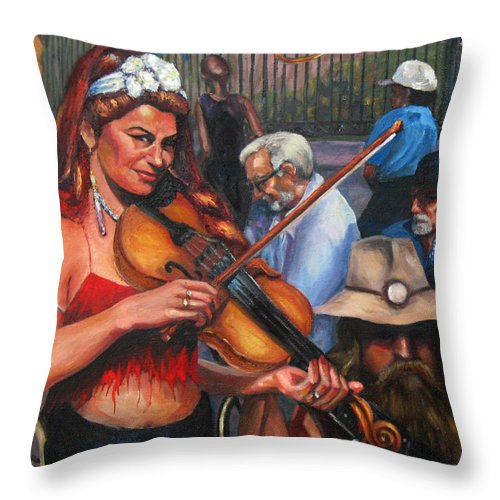 New Orleans Throw Pillow featuring the painting Washboard Lissa On Fiddle by Beverly Boulet
