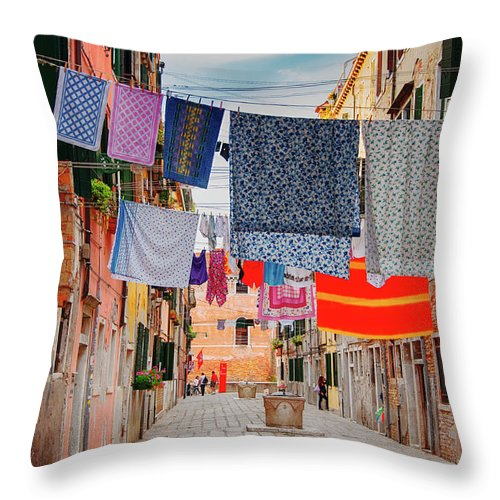 Hanging Throw Pillow featuring the photograph Washing Hanging Across Street, Venice by Svjetlana
