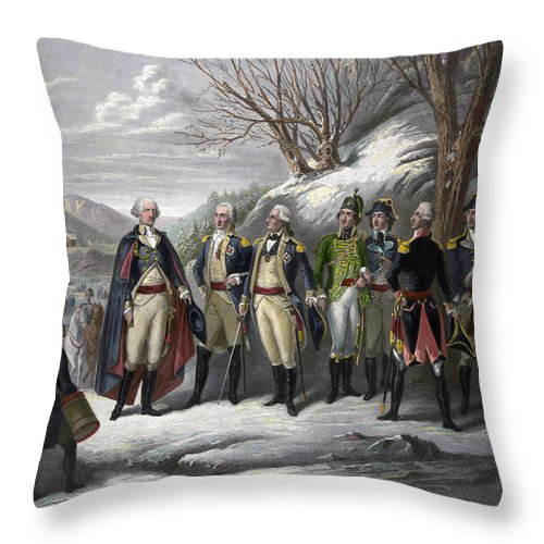 1780s Throw Pillow featuring the photograph Washington & Generals by Granger