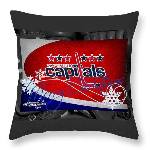 Capitals Throw Pillow featuring the photograph Washington Capitals Christmas by Joe Hamilton