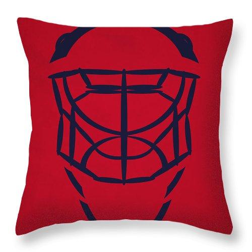 Capitals Throw Pillow featuring the photograph Washington Capitals Goalie Mask by Joe Hamilton