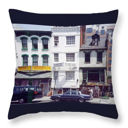 View Of Washington's Chinatown In The 1980s. Throw Pillow featuring the photograph Washington Chinatown In The 1980s by Thomas Marchessault