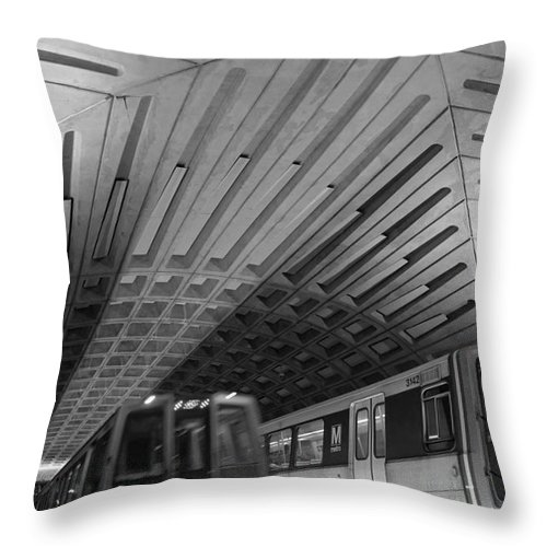 Washington Dc Throw Pillow featuring the photograph Washington Dc Metro by ADT Gallery
