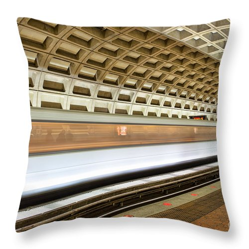 Clarence Holmes Throw Pillow featuring the photograph Washington Dc Metro Station Vii by Clarence Holmes