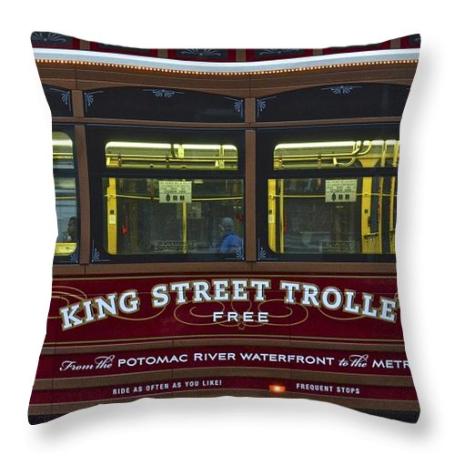 Washington Throw Pillow featuring the photograph Washington Dc Trolley by Frozen in Time Fine Art Photography