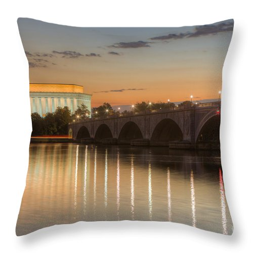 Clarence Holmes Throw Pillow featuring the photograph Washington Landmarks At Dawn I by Clarence Holmes