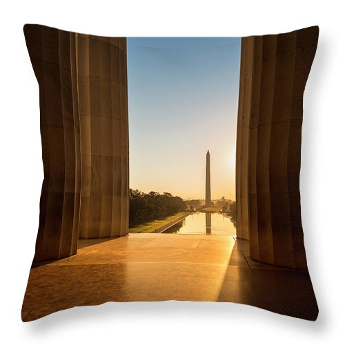 Built Structure Throw Pillow featuring the photograph Washington Monument From The Lincoln by Pgiam