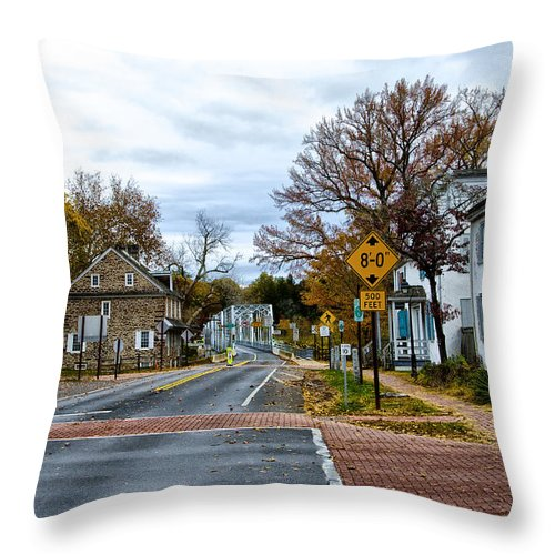 Washington's Throw Pillow featuring the photograph Washington's Crossing In The Fall by Bill Cannon
