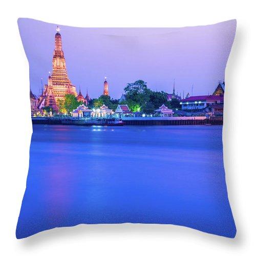 Scenics Throw Pillow featuring the photograph Wat Arun Temple Bangkok Thailand by Deimagine