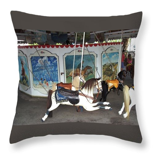 merry Go Round Throw Pillow featuring the photograph Watch Hill Merry Go Round by Barbara McDevitt