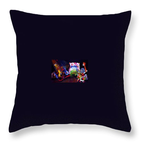 Cartoon Throw Pillow featuring the painting Watch With Mother by Charles Stuart