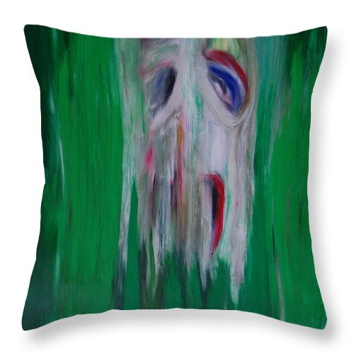 First Star Art Throw Pillow featuring the painting Watcher In The Green Totem Series by First Star Art