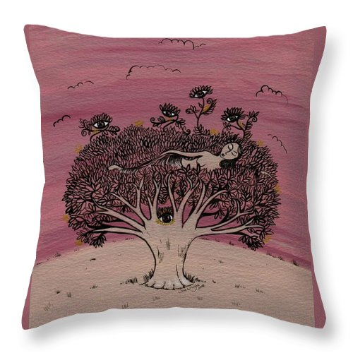 Original Art Throw Pillow featuring the painting Watchful Sleep by Sue Wright
