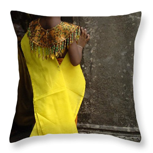 Cambodian Youth Throw Pillow featuring the photograph Watching In Cambodia by Bob Christopher