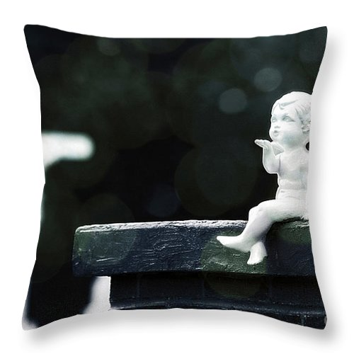 Statue Throw Pillow featuring the photograph Watching Over Them by Trish Mistric