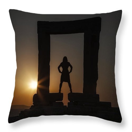 Girl Throw Pillow featuring the photograph Watching Sunset by Joana Kruse