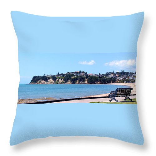 St Heliers Throw Pillow featuring the photograph Watching The Day Go By by Gee Lyon