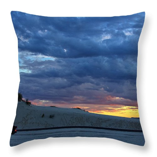 Motorcycle Throw Pillow featuring the photograph Watching The Sunset by Diana Powell