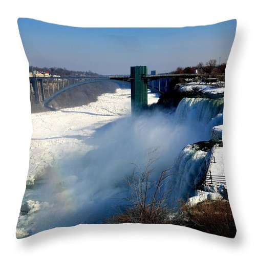 Niagara Falls Throw Pillow featuring the photograph Water And Ice by Eric Swan