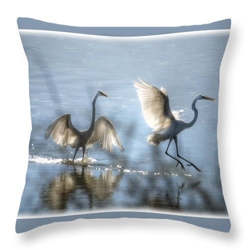 White Egret Throw Pillow featuring the photograph Water Ballet by Saija Lehtonen