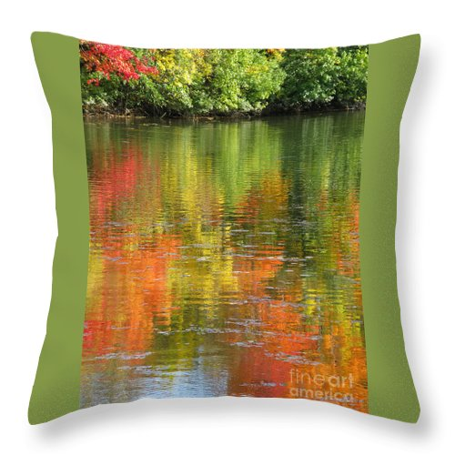 Autumn Throw Pillow featuring the photograph Water Colors by Ann Horn