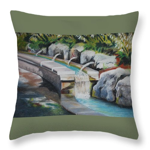 Water Throw Pillow featuring the pastel Water Fall In The Gratto by Joy Bradley