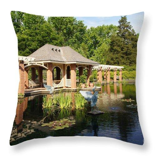 Botanical Garden Throw Pillow featuring the photograph Water Garden Serenity by Megan Cohen