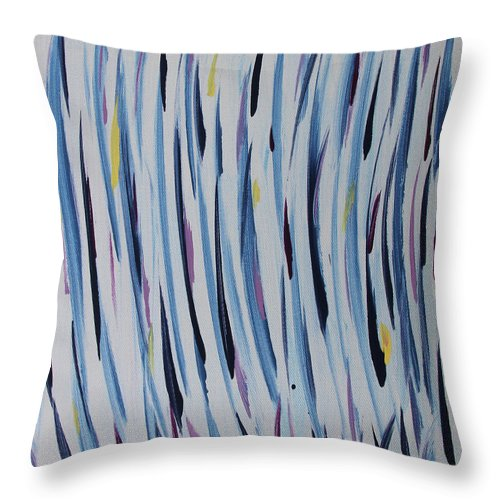 Abstract Throw Pillow featuring the painting Water Grass by Laura Lane