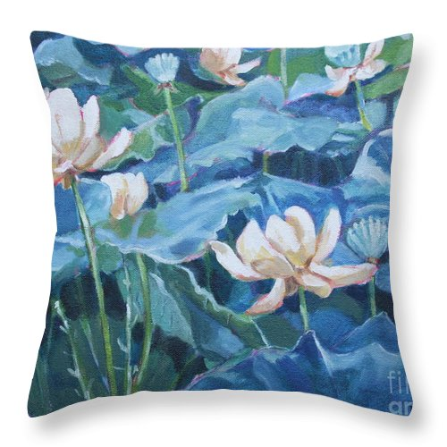 Water Lilies Throw Pillow featuring the painting Water Lilies Two by Jan Bennicoff
