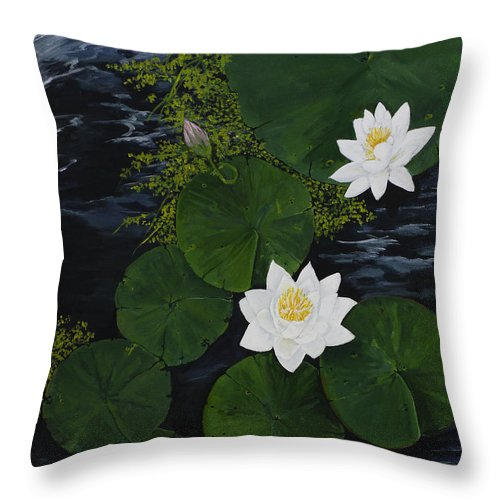 Water Lilies Throw Pillow featuring the painting Water Lilies by Virginia McLaren
