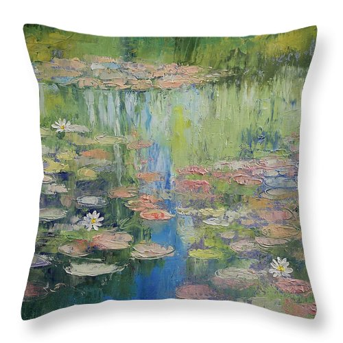Water Throw Pillow featuring the painting Water Lily Pond by Michael Creese