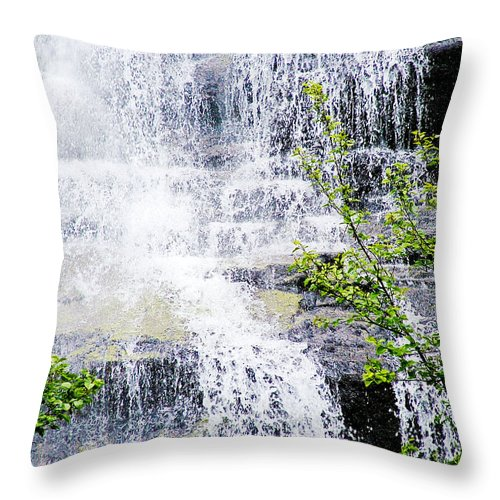 Water Over Rocks At Misty Fjords National Monument Throw Pillow featuring the photograph Water Over Rocks At Misty Fjords National Monument-alaska by Ruth Hager