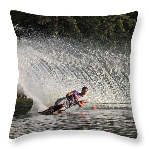 Water Skiing Throw Pillow featuring the photograph Water Skiing 12 by Vivian Christopher