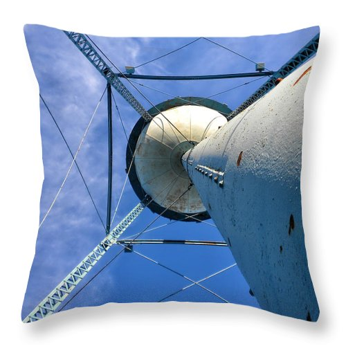 Water Tower Throw Pillow featuring the photograph Water Tower 01 by Thomas Woolworth