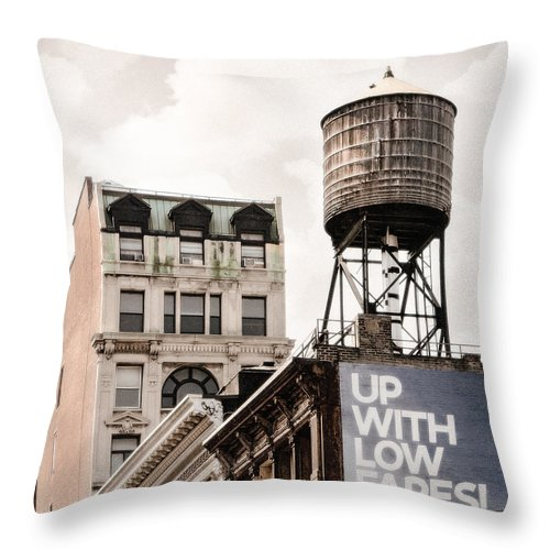 Water Towers Throw Pillow featuring the photograph Water Towers 14 - New York City by Gary Heller