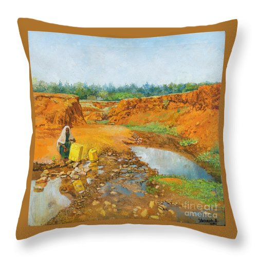 Water Throw Pillow featuring the painting Water Water by Yoseph Abate