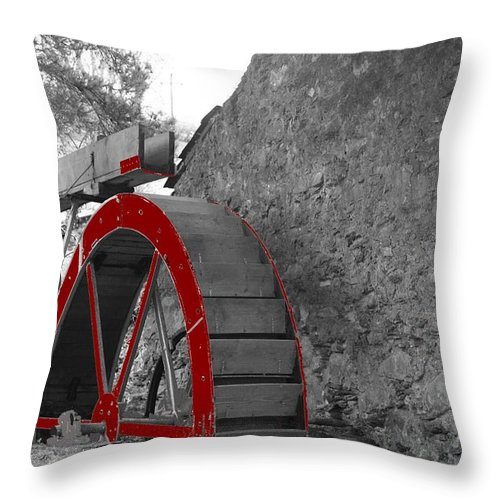 Water Throw Pillow featuring the photograph Water Wheel. by Christopher Rowlands