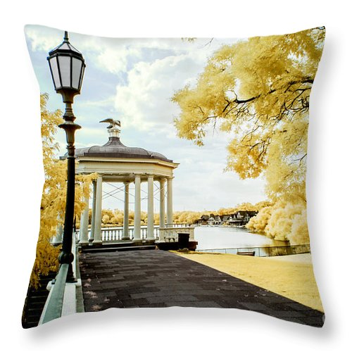 Boathouse Row Throw Pillow featuring the photograph Water Works And Boathouse Row by Stacey Granger