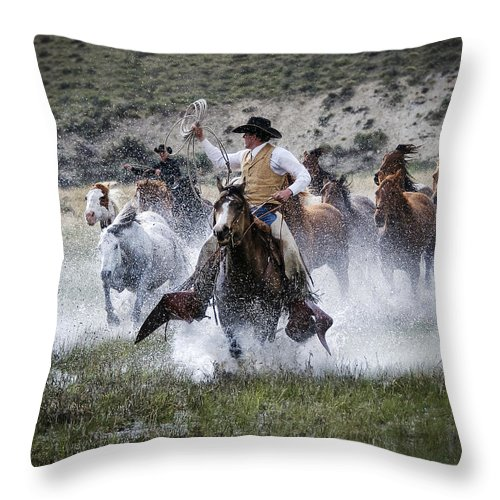 Sombrero Ranch Throw Pillow featuring the photograph Water Wranglers by Pamela Steege