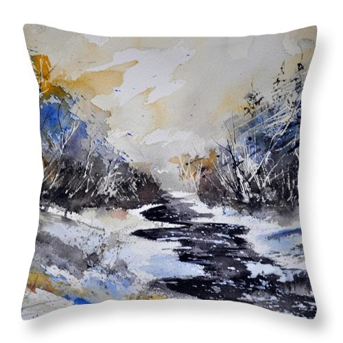Landscpa Throw Pillow featuring the painting Watercolor 312142 by Pol Ledent