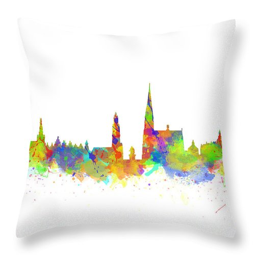 Antwerp Throw Pillow featuring the photograph Watercolor Art Print Of The Skyline Of Antwerp In Belgium by Chris Smith