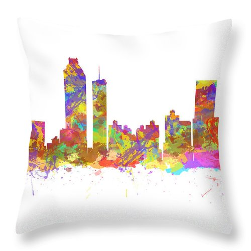 Atlanta Throw Pillow featuring the photograph Watercolor Art Print Of The Skyline Of Atlanta Georgia Usa by Chris Smith