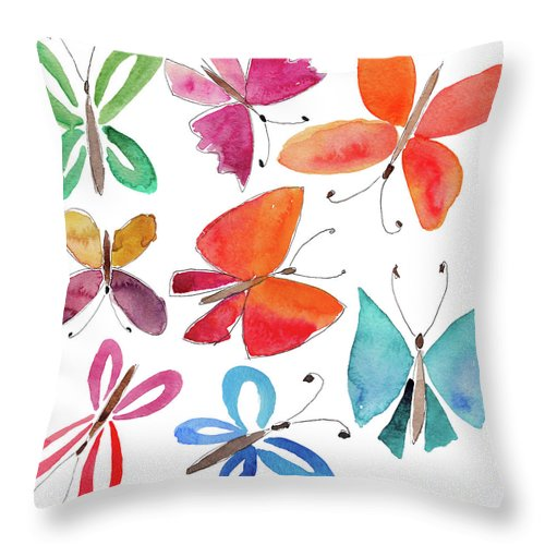Watercolor Painting Throw Pillow featuring the digital art Watercolor Butterflies by Anndoronina