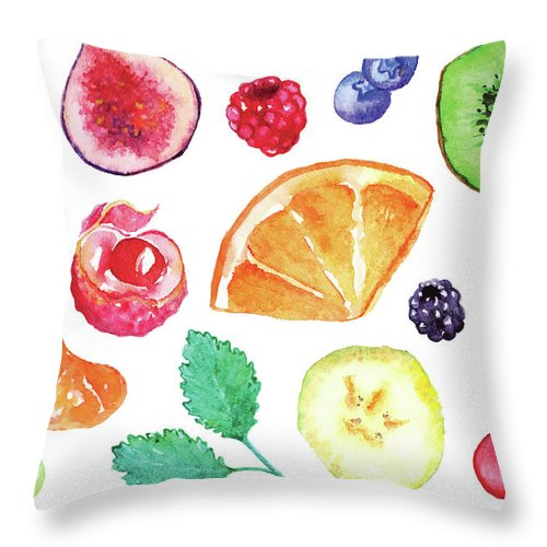 Cherry Throw Pillow featuring the digital art Watercolor Exotic Fruit Berry Slice Set by Silmairel