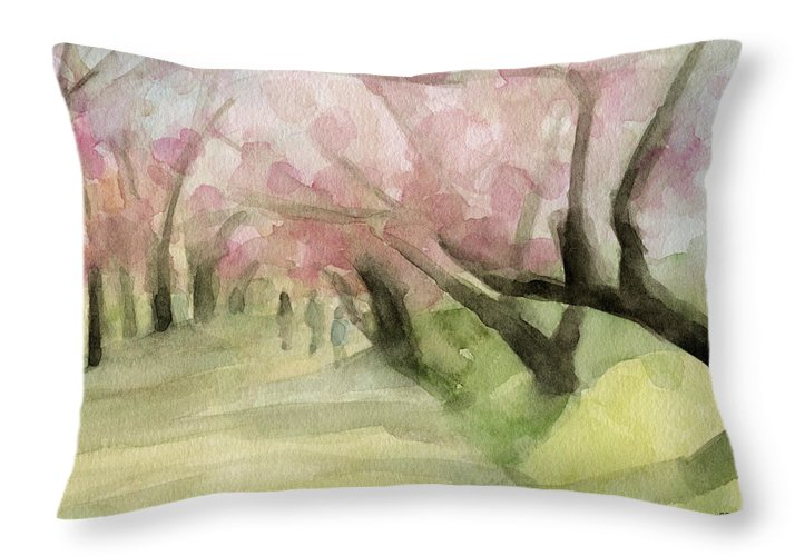Landscape Throw Pillow featuring the painting Watercolor Painting Of Cherry Blossom Trees In Central Park Nyc by Beverly Brown