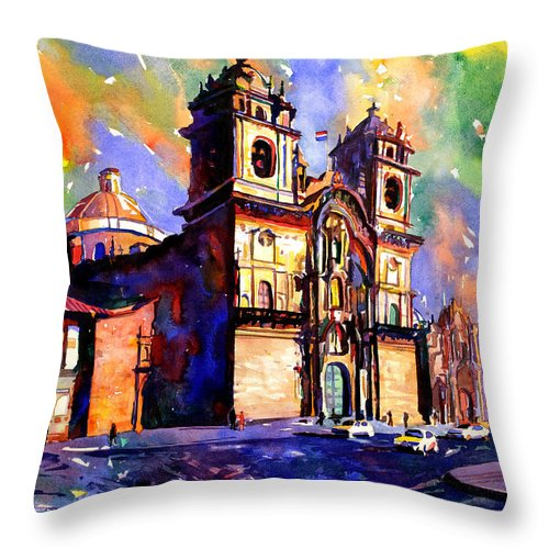 Throw Pillow featuring the painting Watercolor Painting Of Church On The Plaza De Armas Cusco Peru by Ryan Fox
