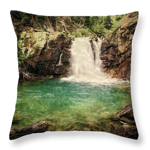 Waterfall Throw Pillow featuring the photograph Waterfall Dreaming by Priscilla Burgers