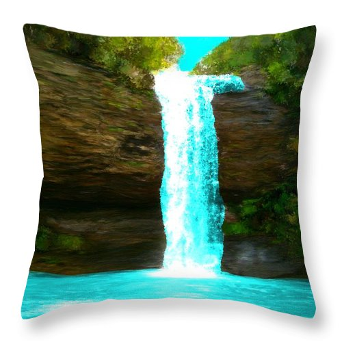 Waterfalls Throw Pillow featuring the painting Waterfall Dreams by Bruce Nutting