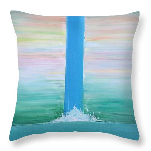 Waterfall Throw Pillow featuring the painting Waterfall by Fabrizio Cassetta
